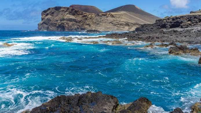 Turquoise waters off the coast of Faial Island