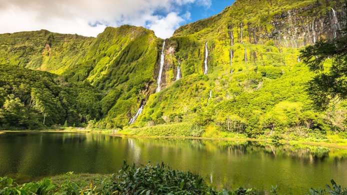Waterfalls on the island of Flores (Azores)