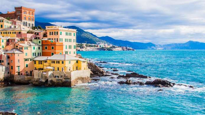 View of Boccadasse, neighbourhood in Genoa