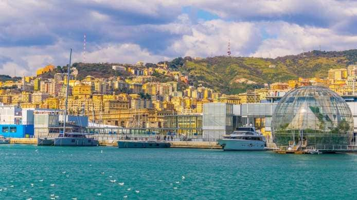 View of Genoa's Harbour with the Aquarium and the Biosphere