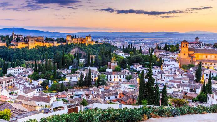 View of Granada at sunset